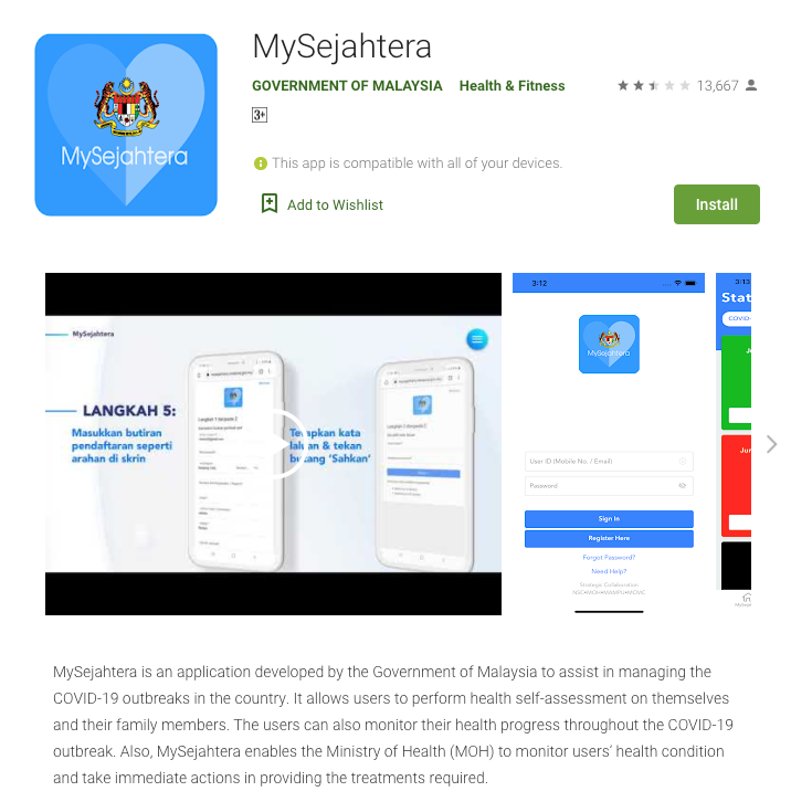 "Source by: Google Apps Store ""My Sejahtera"" Apps"